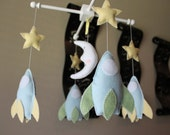 Baby Crib Mobile - Baby Mobile - Rocket Ship Mobile - Spaceship, Stars and Moon - Nursery Aliens Baby Mobile (You can pick your colors)