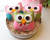 """Mini Felt Plush Toy """"Baby Isabellas"""" The Owls - Owl Ornament - Party or Baby Shower Favor - Colors and Quantity of your Choice"""