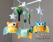 "Baby Crib Mobile - Baby mobile - Owl Mobile - Nursery Baby Decor ""Five Little Colorful Owls"""