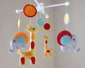"Baby Mobile - Baby Crib Mobile - Nursery Elephant Giraffe Mobile - Safari Mobile ""Baby Giraffes & Elephants"" (You can pick your colors)"