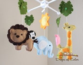 "Baby Crib Mobile - Baby Mobile - Nursery Jungle Crib Mobile ""Safari Playland"" Mobile - Crib Mobile - Elephant, Lion, Giraffe, Zebra, Hippo"