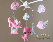 """Baby Crib Mobile - Baby Mobile - Nursery Paris Mobile - French Mobile """"A night in Paris""""(You can pick your colors) Mobile - Crib Mobile"""