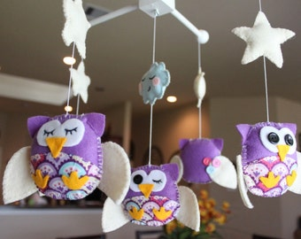 """Baby Crib Mobile - Baby Mobile - Decorative Nursery Mobile - """"Five little owls in Purple Dreams"""" Design (You can pick your colors)"""