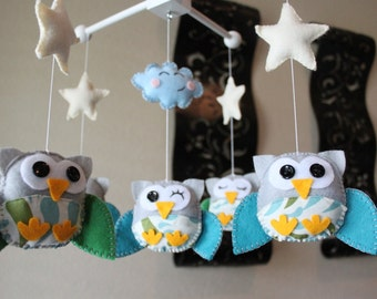 """Baby Crib Mobile - Baby Mobile - Owl Mobile - Nursery Wood Forest Crib Mobile """"Five little owls Matching your Room"""" (Pick your colors)"""