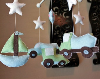 """Baby crib Mobile - Baby Mobile - Transportation Nursery Mobile - Car Mobile """"Driving to Dreamland""""(You can pick your colors)"""