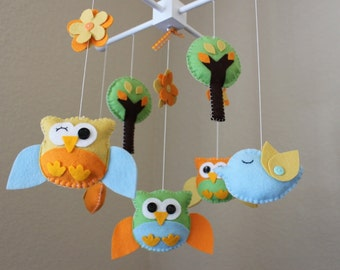 """Baby Crib Mobile - Baby Mobile - Owl and Bird Mobile - Nursery Forest Mobile """"A day in the Forest"""" (You Can Pick Your Colors)"""
