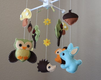Forest Mobile, Baby Crib Mobile, Baby Mobile, Nursery Forest Crib Mobile,  Wood Felt Forest Creatures, Owl, Rabbit, Snail, Hedgehog