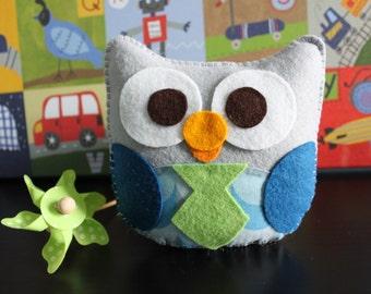 "Owl Plush Felt Toy - Felt Owl - Plush Owl - Nursery Decoration - Party Favors ""Mr. Alessandro The Owl"""