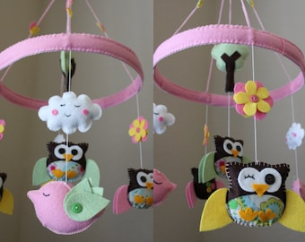 "Baby Crib Mobile - Baby Mobile - Decorative Nursery Mobile - ""A day in the Forest in the Circle of Love"" (You can pick your colors)"