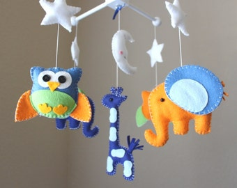 "Baby Crib Mobile - Baby Mobile - Owl Mobile - ""Baby Animals in the Night"" (You can pick your colors) Elephant Mobile - Crib Mobile"