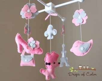 "Baby Crib Mobile - Baby Mobile - Nursery Paris Mobile - French Mobile ""A night in Paris""(You can pick your colors) Mobile - Crib Mobile"