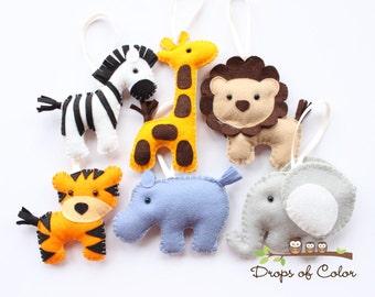 Six Felt Plush Toy Jungle Theme - Safari Ornaments - Lion, Zebra, Elephant, Tiger, Giraffe / Party or Baby Shower Favor - Nursery Decoration