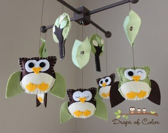 "Baby Crib Mobile - Baby Mobile - Owl Mobile - Decorative Nursery Mobile - Crib Mobile ""Five little owls in the Fall Design"""
