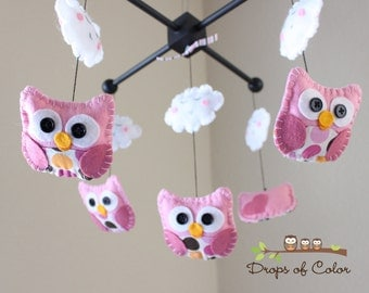 """Baby Crib Mobile - Baby Mobile - Owl Clouds Mobile - Girl Nursery Crib Mobile """"Isabella The Owl"""" (You can pick your colors and fabric)"""
