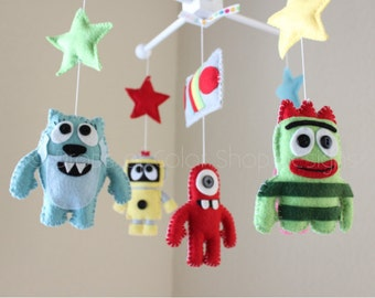 Baby Crib Mobile - Baby Mobile - Nursery Mobile - Monsters, Aliens & Robots Mobile - YGG Mobile