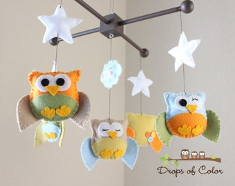 """Baby Crib Mobile - Baby Mobile - Owl Mobile - Nursery Neutral Decor """"Five little owls in the night"""" (You can pick your colors)"""