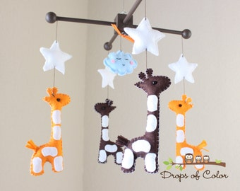 "Baby Mobile - Baby Crib Mobile - Nursery Giraffe Mobile - Safari Mobile ""Baby Giraffes"" (You Can Pick Your Colors)"