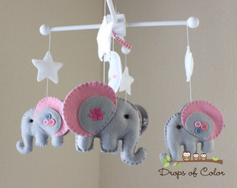 "Baby Crib Mobile - Baby Mobile - Elephant Mobile - Baby Nursery Mobile - ""Rock-a-Bye-Baby Girl Elephant""(You can pick your colors)"