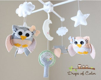 Baby Crib Mobile - Baby Girl Mobile - Owls Mobile - Nursery Owl Mobile (You Can Pick Your Colors)