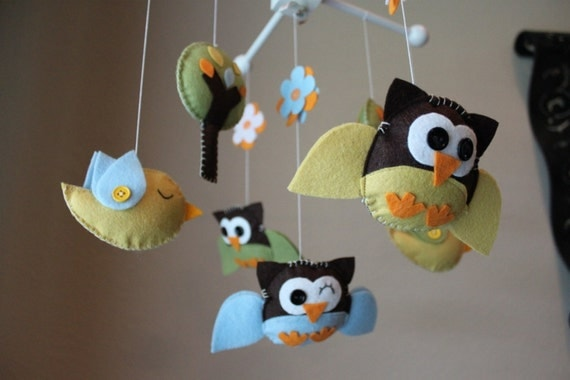 "Baby Crib Mobile - Baby Mobile - Birds Owls Mobile - Baby Nursery Mobile ""Little Creatures Looking Down on You""(You can pick your colors)"