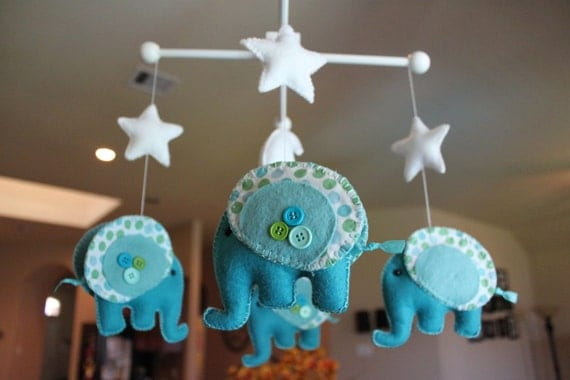 "Baby Mobile - Baby Crib Mobile - Nursery Elephant Mobile ""Rock-a-Bye-Baby-Elephant"" (You can pick your colors)"