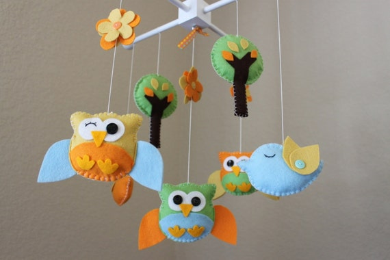 Baby crib mobile baby mobile owl and bird mobile nursery for Bird mobiles for nursery