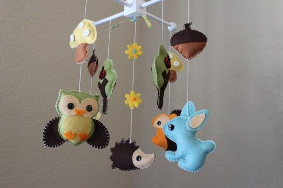 Forest Mobile, Baby Crib Mobile, Baby Mobile, Nursery Forest Crib Mobile,  Wood Felt Forest Creatures, Owl, Rabbit, Snail, Hedgehog