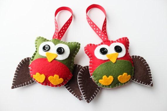 Felt Owl Plush Ornaments - Two Little Owls ready for Christmas - Christmas Decor