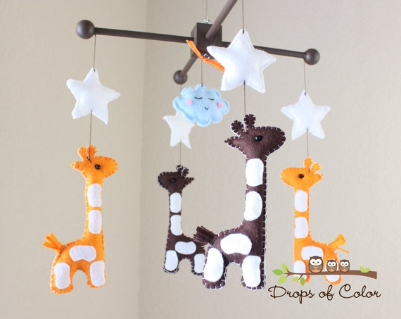 "Baby Mobile - Baby Crib Mobile - Nursery Giraffe Mobile - Safari Mobile ""Baby Giraffes"" (You Can Pick Your Colors)"