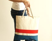 Striped Tote - red/blue - water-repellent durable canvas - handpainted - MADE TO ORDER