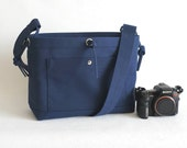 Large Studio Camera Bag - water-repellent durable canvas & 4 exterior colors - Navy