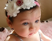 White chiffon headband, baby headband, newborn headband, infant headband, shabby chic headband