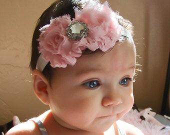 Pink Baby Headband, baby girl headband,Newborn Headband, shabby chic flower headband, christening headband,baptism headband.