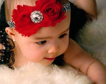 Baby headband, Zebra rosette flower headband, baby headbands, newborn headband, shabby chic headband