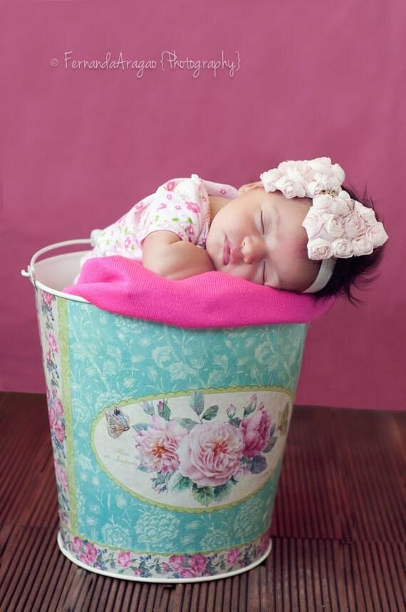 20% off entire order...Misty pink Shabby chic rose bow headband, baby headbands, newborn headbands, photo prop