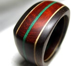 Square Wooden Ring - Walnut, Maple and Red Padauk Layered Ring