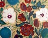 Hibiscus painting, original acrylics, canvas art, Impressionist tulips, Zen garden, white hibiscus