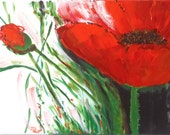 Red Poppy Painting, Fine Art Painting, Canvas Acrylics, Ruby Red Poppies Poppy Bud, Green White, Modern Floral 14 x 18""
