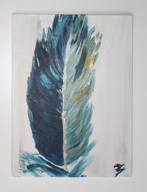 Monaco blue feather painting, midnight blue, turquoise feather on ivory white background