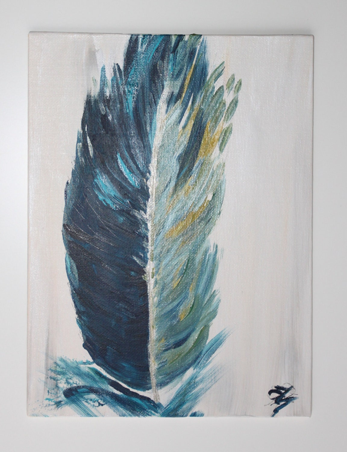 Monaco blue feather painting midnight blue turquoise feather for Painting feathers on canvas
