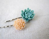 Duo flower cbochon bobby pins