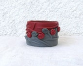 RESERVED for Helaine Rochelle - Unique Leather Cuff, red gray, leather forms