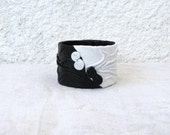 Leather Cuff, black and white, contrast, fashionable