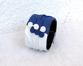 Artistic Leather Cuffin  blue and white