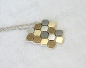 Geometry long necklace, mixed colors, free form, honeycomb