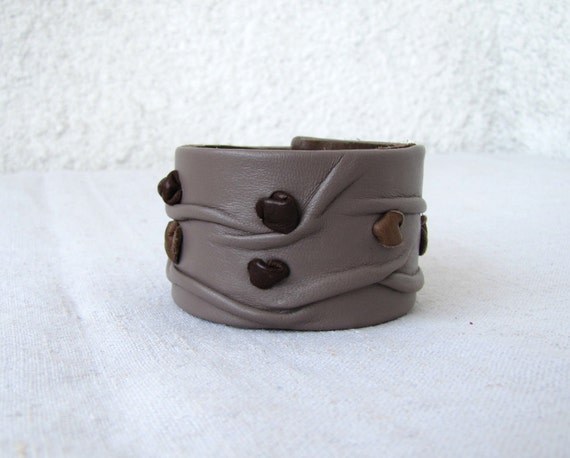 Unique Leather Cuff, wrinkled leather forms