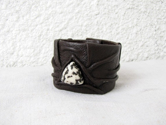 Dark Chocolate Artistic Leather Cuff