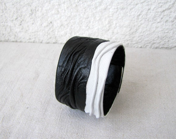 Black and White, Contrast, fashionable leather cuff bracelet