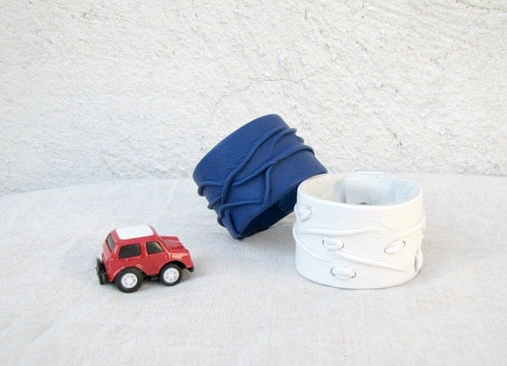 Navy Blue artistic Leather Cuff
