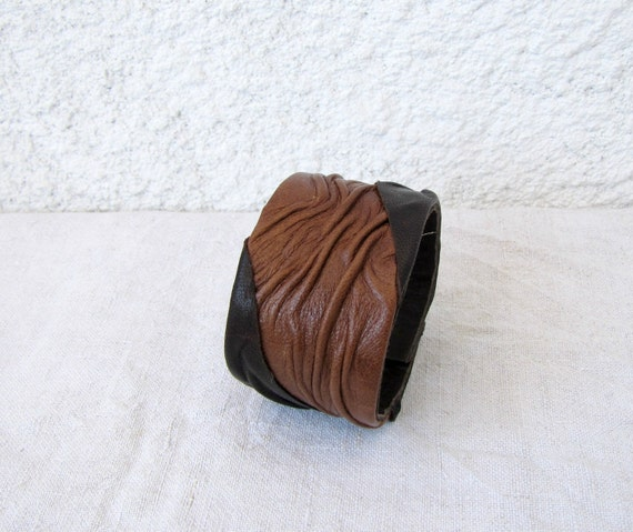 Two tone Leather Cuff, brown, chocolate, leather forms